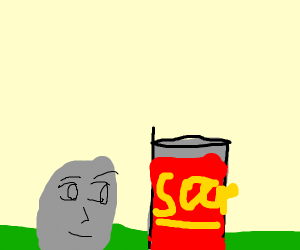 rock reading a soup can on grass