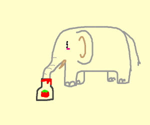 Cute elephant slurping up some ketchup