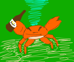 A crab drinking beer