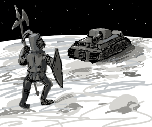A knight fights a tank in space, on the moon.