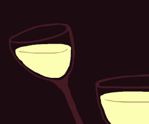 Wine glasses filled with milk