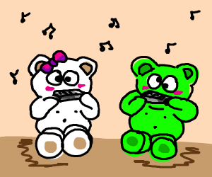 Green and white panda playing on a harmonica