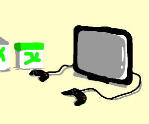 TWO XBOX CONTROLLERS PLUGED INTO A TV