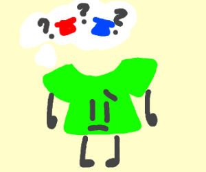 Green shirt realizes it has been forgotten.
