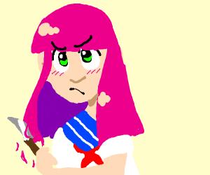 cute anime girl cuts own hair w/ knife
