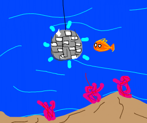 disco ball in the middle of the ocean