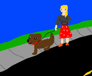 girl takes dog for a walk