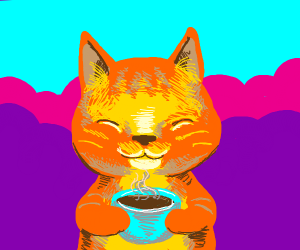 happy cat with coffee
