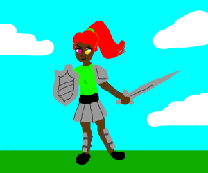 Warrior girl green shirt red hair rainbow eye