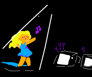 Girl singing in front of TVs