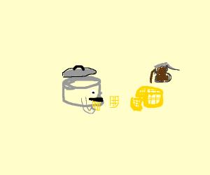 Pot that eats waffles