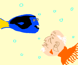 Dory meets a fish with the face of an old man