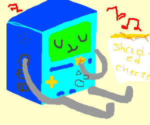 bmo eating shredded cheese with music playing