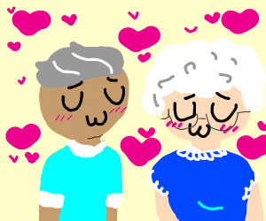 two old people trying to flirt