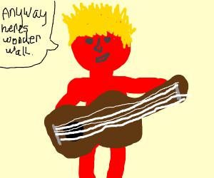 Red man plays guitar