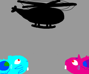 Male, female, and an attack helicopter