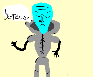 "depressed alien says ""existance is pain"""