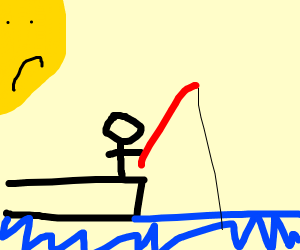 Little Man Fishing and Making The Sun Sad