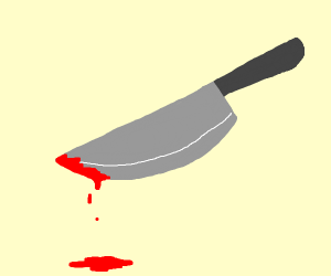 Floating knife drips some blood