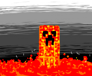 Creeper on lava