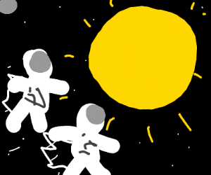 Two astronauts fly into the sun