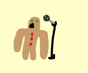 Gingerbread man does karaoke
