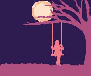 Girl swinging under the moonlight