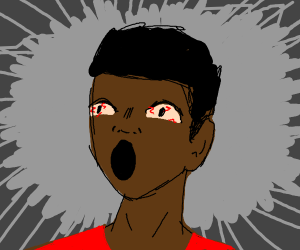 Man with bloodshot eyes screaming