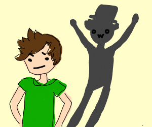 Man's shadow is wearing a top hat but hes not