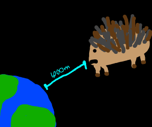 Porcupine floats 1000m away from earth.