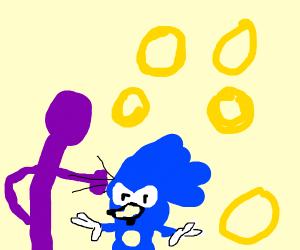 purple guy hits sonic the hedgehog