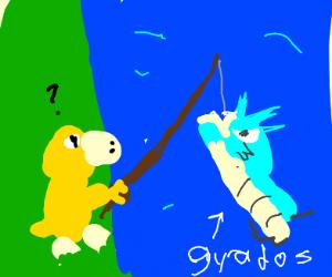 Psyduck found Gyarados when fishing