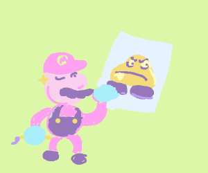 Mario show off his painting of a goomba