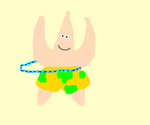 Patrick star with a blue hula-hoop