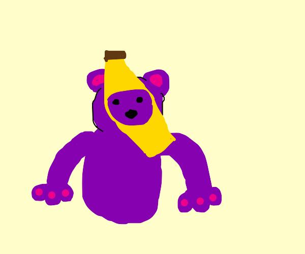 Purple bear with banana hat