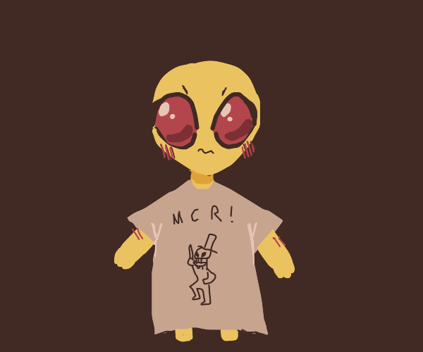 The MCR shirt is too big for the alien.
