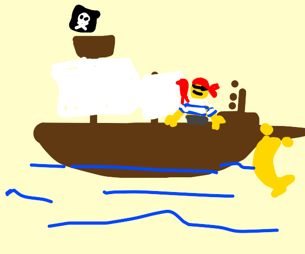 A Lego pirate on a ship