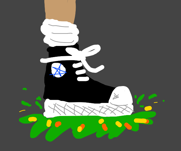 Stepping in puke