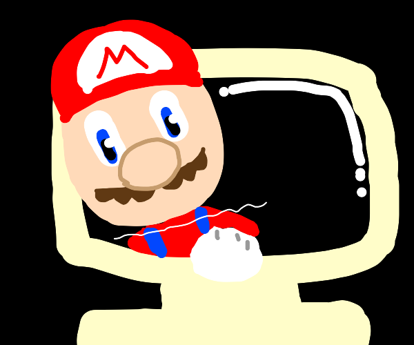 mario is breaking out of the computer