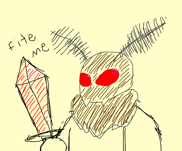 Missile With Sword Faces Moth With Sword
