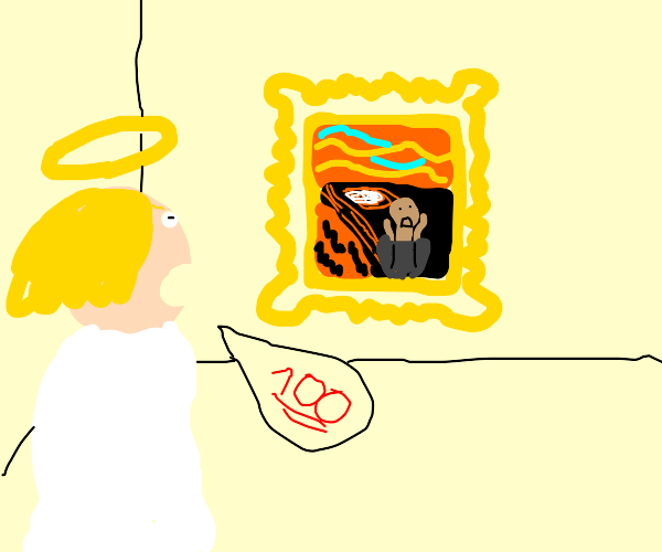 Angel Admiring a Painting in a Museum