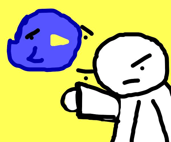 Man insults blue bird