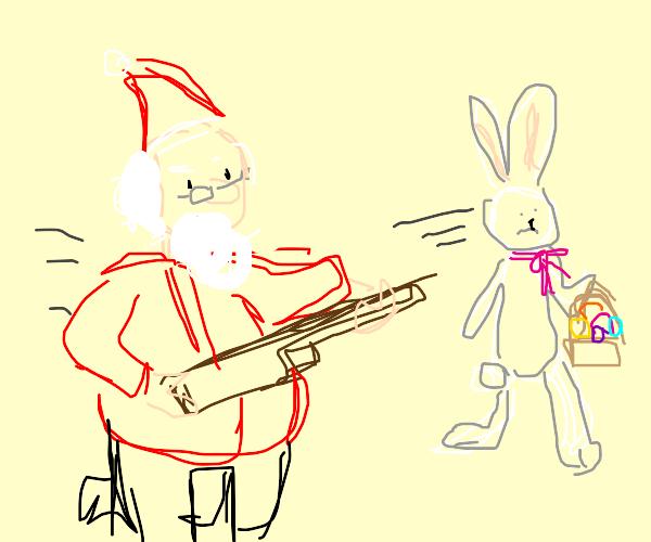 Santa hunting the Easter bunny