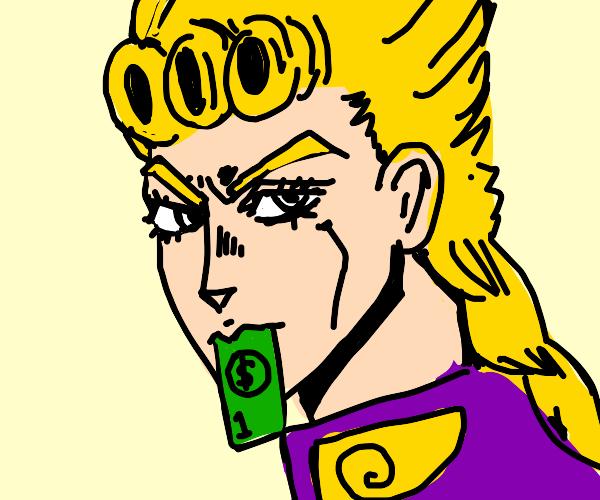 Giorno Giovanna eating cash?