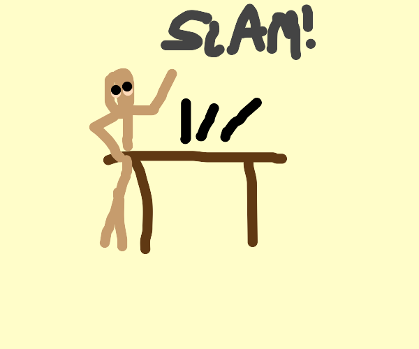 This is fine meme, but slamming a table