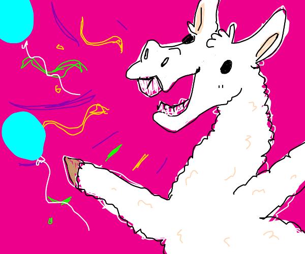 Llama Celebrating