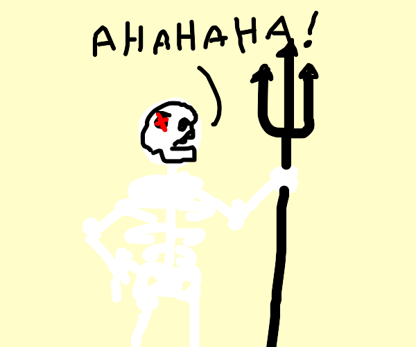Evil skeleton with trident laughs