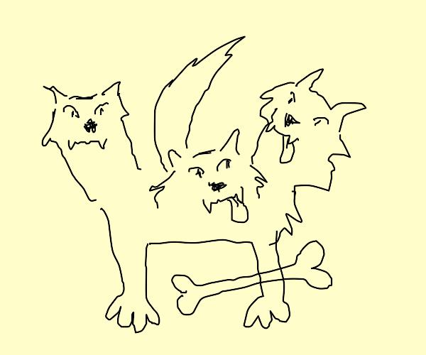 three headed hellhound with a bone
