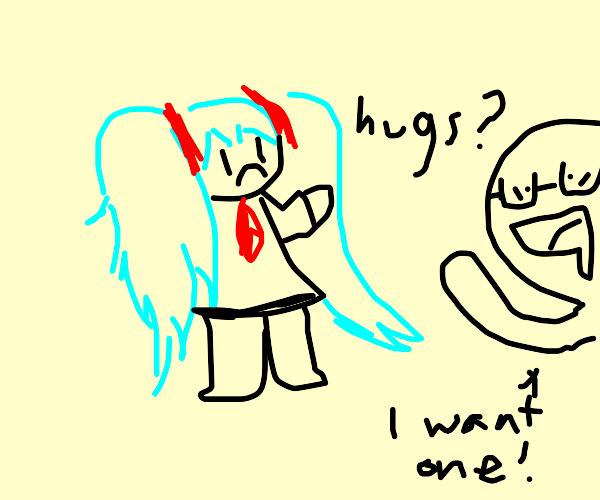 hatsuny miko wants hugs
