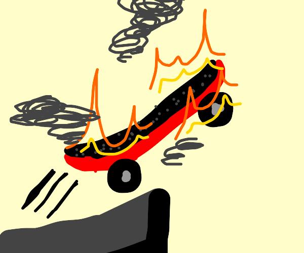 Skateboard on fire